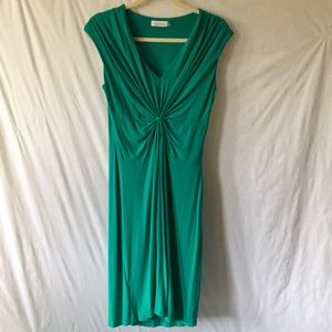 Green Calvin Klein Dress With Ruched Detailing